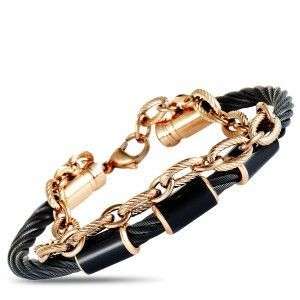 Charriol St. Tropez Stainless Steel and Pink and Black PVD Black Enamel Cable Chain and Bangle Bracelet
