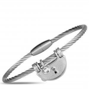 Charriol My Heart Stainless Steel and White CZ Keyhole Cable Bangle Bracelet