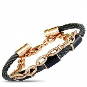 Charriol St. Tropez Stainless Steel Pink and Black PVD Black Enamel Cable Chain and Bangle Bracelet