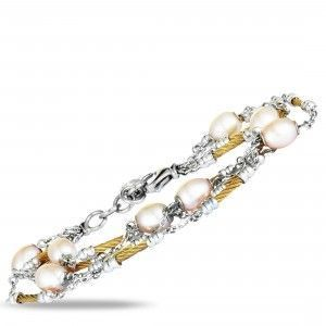 Charriol Pearl Stainless Steel and Yellow PVD Cream Pearls Bracelet