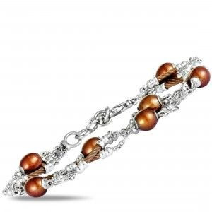 Charriol Pearl Stainless Steel and Bronze PVD Brown Pearls Bracelet
