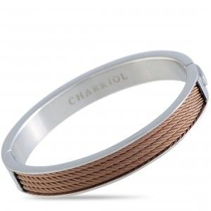 Charriol Forever Stainless Steel and Bronze PVD Cable Bangle Bracelet