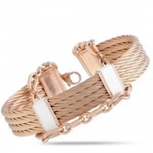 Charriol St. Tropez Stainless Steel and Pink PVD White Enamel Cable Bangle Bracelet