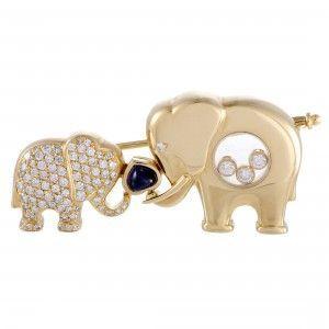 Chopard Happy Diamonds 18K Yellow Gold Diamond and Sapphire Elephants Brooch