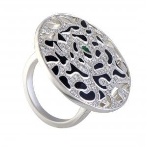 Cartier Panthere Enameled 18K White Gold Diamond and Emerald Round Cocktail Ring