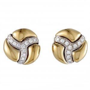 Damiani 18K Yellow and White Gold Diamond Pave Round Huggie Earrings