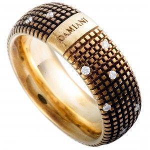 Damiani Metropolitan 18K Rose Gold and Brown Rhodium 18 Diamonds Textured Band Ring