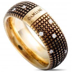 Damiani Metropolitan 18K Yellow Gold and Brown Rhodium 18 Diamonds Textured Band Ring