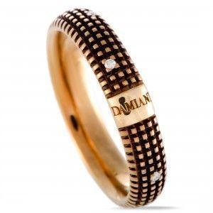 Damiani Metropolitan 18K Yellow Gold and Brown Rhodium 9 Diamonds Textured Band Ring