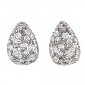 Damiani 18K White Gold Wide Diamond Huggie Earrings