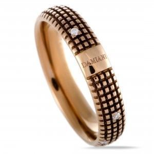 Damiani Metropolitan 18K Rose Gold and Brown Rhodium 9 Diamonds Textured Band Ring