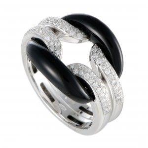 Damiani D.Lace 18K White Gold Diamond Pave and Onyx Cushion Ring