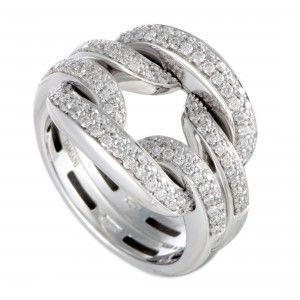 Damiani D.Lace 18K White Gold Full Diamond Pave Cushion Ring