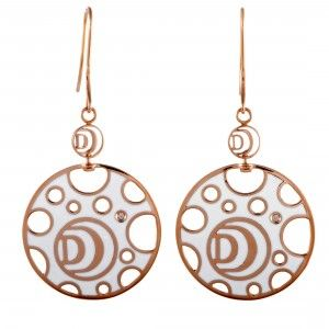 Damiani Damianissima 18K Rose Gold 1-Diamond White and Black Ceramic Large Disk French Wire Earrings
