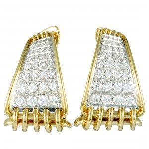 Damiani 18K Yellow Gold Diamond Huggie Earrings