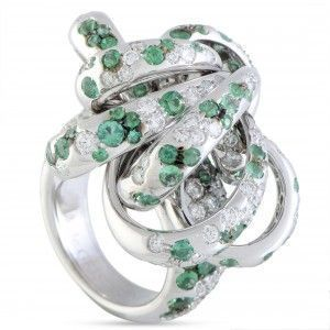 de Grisogono 18K White Gold Diamond and Emerald Swirl Ring