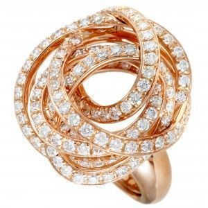 de Grisogono 18K Rose Gold Full Diamond Tangled Swirl Ring