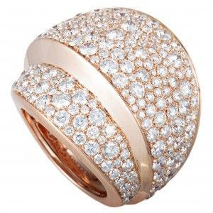 de Grisogono 18K Rose Gold Full Diamond Pave Wide Stepped Band Ring