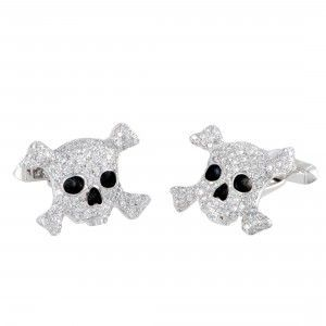 de Grisogono Intimo 18K White Gold Full Diamond and Black Enamel Skull Cufflinks
