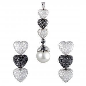 de Grisogono 18K White Gold Black and White Diamond Pave and Pearl Earrings and Pendant Set