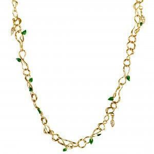Dior Christian Dior Feuillus 18K Yellow Gold Diamonds Emerald and Green Enamel Leaf Motif Long Necklace
