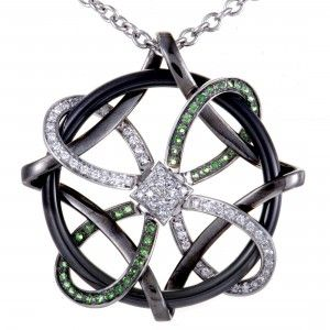 Gianni Lazzaro 18K White Gold/Black Rhodium Diamond and Tsavorite Pave Openwork Pendant Necklace