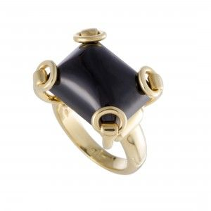 Gucci Horsebit 18K Yellow Gold Onyx Ring