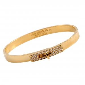 Hermès Kelly 18K Yellow Gold Diamond Bangle Bracelet Size Small