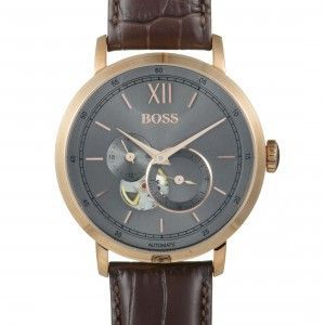 Hugo Boss Signature Men's Rose Gold Plated Visible Movement Watch Brown Leather Band 1513506