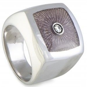 Luca Carati D-Duke Silver 2-Diamond Beige Enamel Square Cushion Ring