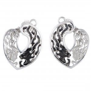 Magerit Instinto Origen 18K White Gold and Black Rhodium Woman and Panther Oval Omega Earrings