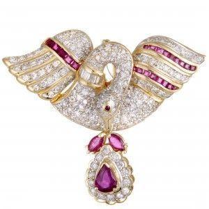 18K Yellow Gold Full Diamond and Ruby Swan Pendant/Brooch