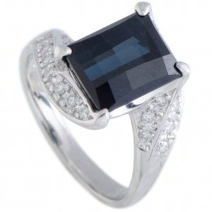 Platinum Diamond and Rectangle London Topaz Ring