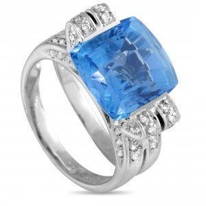 18K White Gold Diamond and Square Cushion Topaz Ring