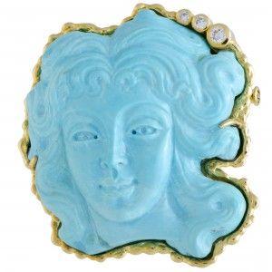 18K Yellow Gold Diamond and Turquoise Pendant