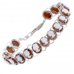 Womens 18K White Gold and Platinum Cameo Bracelet