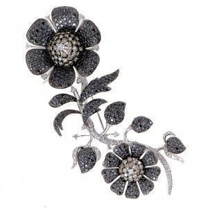 Womens 18K White Gold Full White Black and Brown Diamond Pave Floral Brooch