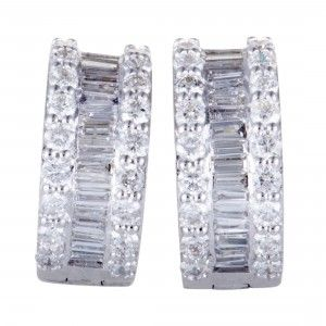 14K White Gold ~1.55ct Round and Baguette Diamond Small Hoop Earrings