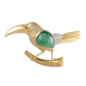 18K Yellow Gold and Platinum Diamonds and Emerald Toucan Pendant/Brooch