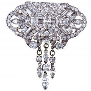 Platinum Full Diamond Pave and Dangling Diamonds Brooch