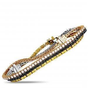 14K Yellow, Rose, and White Gold Multi-Diamond Tennis Bracelet Set