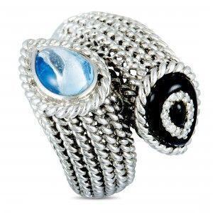 18K White Gold Diamonds, Topaz, and Onyx Bypass Ring