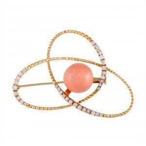 18K Yellow Gold Diamond and Coral Ball Openwork Brooch