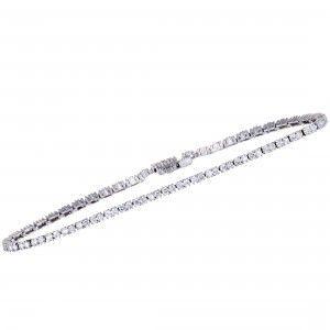 18K White Gold ~1.61ct Diamond Tennis Bracelet