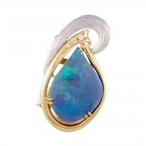 18K Yellow Gold and Platinum Diamond and Blue Green Opal Oval Pendant Brooch