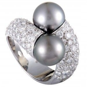 Mikimoto 18K White Gold Diamond and 9.0-10.0mm Two Black Pearls Bypass Ring