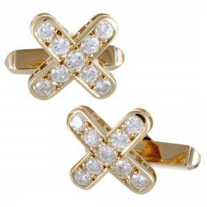 "Mikimoto 18K Yellow Gold Full Diamond ""X"" Cufflinks"