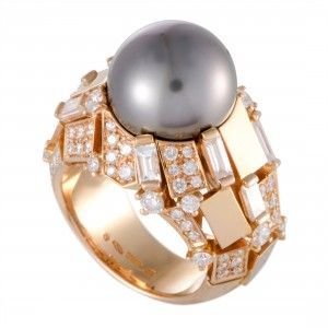 Mikimoto 18K Rose Gold Diamonds and 13.0-14.0mm Black Pearl Ring