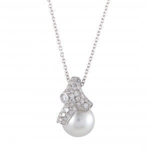 Mikimoto 18K White Gold Diamond and 12.0-13.0mm White Pearl Pendant Necklace