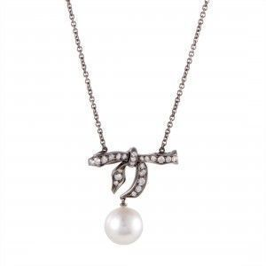 Mikimoto 18K White Gold and Black Rhodium Diamond and 9.0-10.0mm White Pearl Bow Pendant Necklace